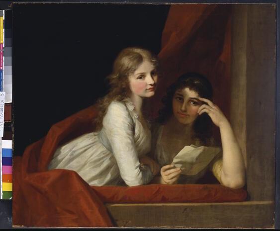 """""""Zwei Schwestern"""" - gemalt von Caroline Tischbein. Das Bild zeigt vermutlich Angehörige der Familie Tischbein, doch ist ihre Identität nicht bekannt."""